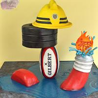 Cake for firefighter/rugby player/body builder