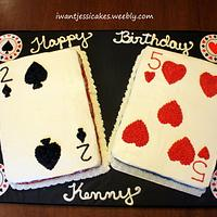 Poker themed birthday cake & treats