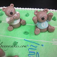Football playing teddy bears
