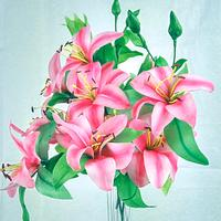 Wafer paper Lilies for a bouquet
