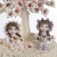 Best friends collaboration - Little girls under blossom tree