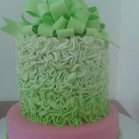 pink and lime wedding cake