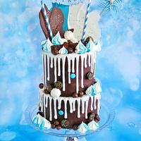 Chocolate drip cake.