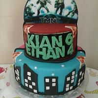 half tmnt, half monster high cake