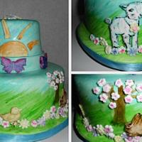 Hand Painted Easter Water Color Easter Cake