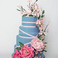 Peony and Dogwood Cake by CourtHouse Cake Company