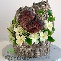 Stone heart wedged in a tree cake
