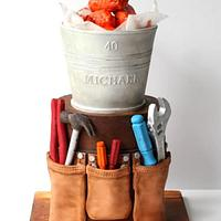 Bucket of chicken wings & tool belt cake