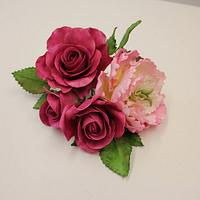 Sugar Rose and Peony cake topper