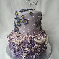 Bird and Violets Cake