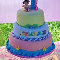 Flower Theme 1st Birthday Cake