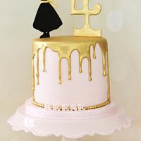 Gold and Pink Princess Cake