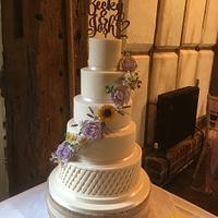 Sunflower & Lavender Wedding Cake