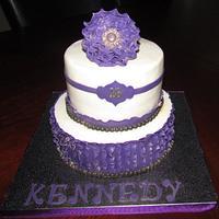 Purple Ruffle  Cake by Jaybugs_Sweet_Shop