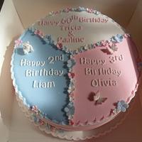 multi themed multi coloured birthday cake