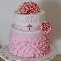 Petal Pink Christening Cake
