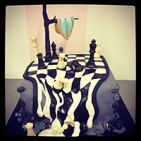 Dali Chess Cake with chocolate chess pieces