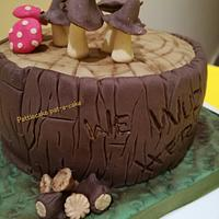 Mushrooms, toadstools, woods and log cake