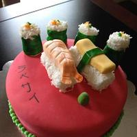 Sushi cake.