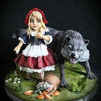 Красная шапочка и серый волк.