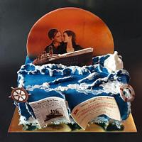 Titanic theme on a chocolate cake
