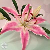 Stargazer Lily Birthday Cake