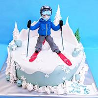 Cake with skier