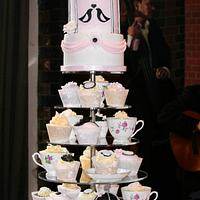 Pink and Black Birdcage Cupcake Tower