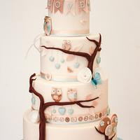 Vegan Owl Wedding cake