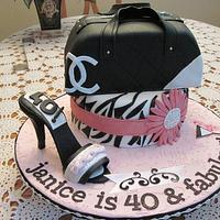 Chanel Style Purse and Shoe Birthday Cake