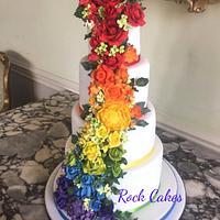 Rainbow wedding cake by RockCakes