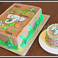 Jungle animals 1st birthday sheet cake