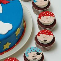 Pirates Birthday Cake and Cupcakes by Deema