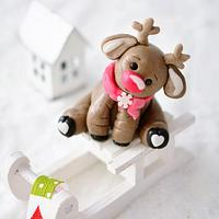 Rudolph the red nosed reindeer cake topper