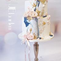 Blue and blush weddingcake  by Judith-JEtaarten