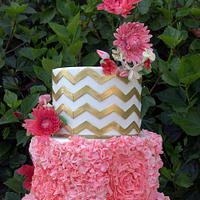Chevrons, Frills, & Dahlias Wedding Cake