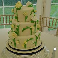 Roses & freesias wedding cake