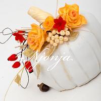 Autumn white pumpkin birthday cake