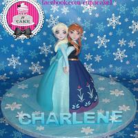 Hand made Elsa and Anna doll cake