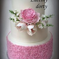 Wedding cake with peony and tulip