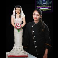Monica in her wedding dress