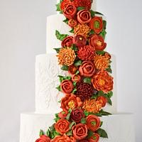 Wedding cake with Royal Icing flowers