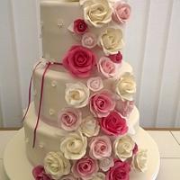 Shades of Pink Rose Cascade Wedding Cake