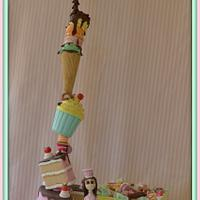 Gravity defying sweet treats tower cake!!