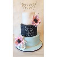 Pastel Chalkboard Wedding Cake!
