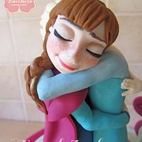 The embrace of Elsa and Anna