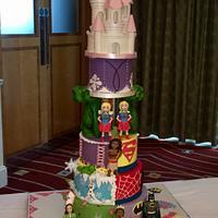 Princess and superhero cake