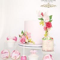Pink Floral Dessert Buffet