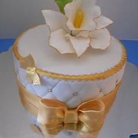 Gold and white, orchid birthday cake. by Cindy