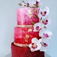 Marble cake with orchids